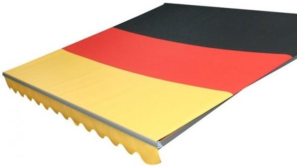 Deutschlandmarkise, Markise schwarz-rot-gold, Gelenkarmmarkise mit Markisentuch in Deutschlandfarben