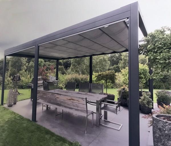 "Pavillon ""Scala"" Pergola 3x3 m inkl. seitlicher Senkrechtmarkise Sonnenpavillon"